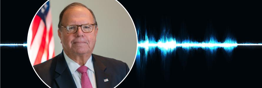 """Headshot of Edward Horowitz; Public Safety First podcast logo; blue audio wave line; """"Edward Horowitz – Shaping FirstNet from need to reality"""""""