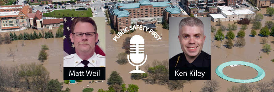 photo of flooded city with headshots of  Matt Weil, Team Coordinator, Oakland County, Michigan, Communications Support Team and Ken Kiley, Team Leader, Oakland County, Michigan, Communications Support Team