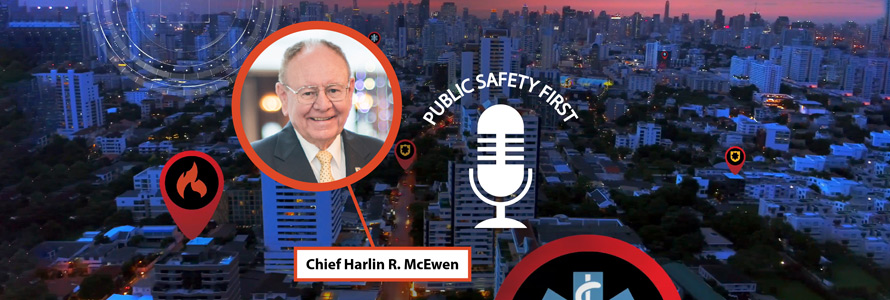 City landscape in the evening, Podcast Icon and Image (bubble)  of  Harlin McEwen, retired Police Chief and Former FirstNet Authority Public Safety Advisory Committee Chair