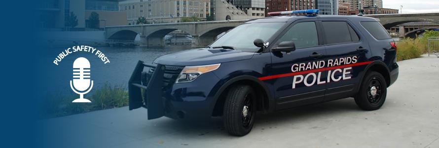 Grand Rapids police vehicle and Grand Rapids skyline