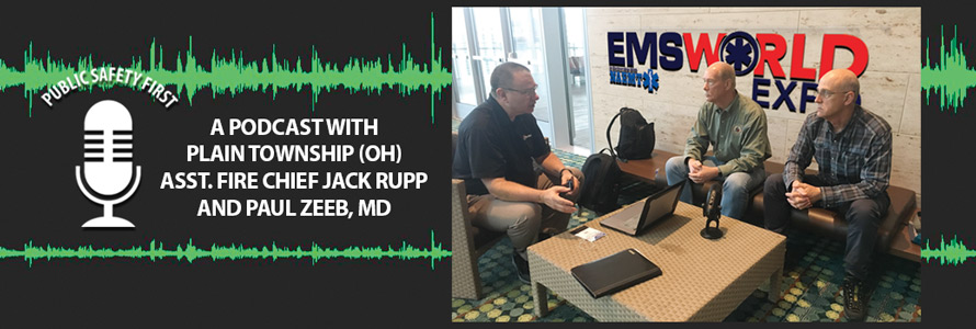 Senior EMS Advisor Brent Williams chats with Plain Township (OH) Assistant Fire Chief Jack Rupp and Dr. Paul Zeeb