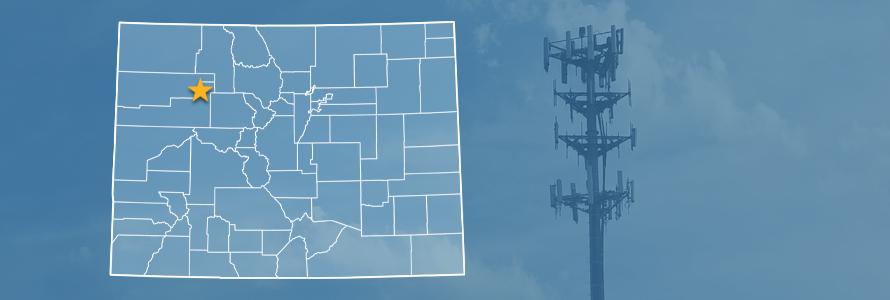 The state of Colorado, with outlined county borders and a star locating Glenwood Canyon; a cell tower