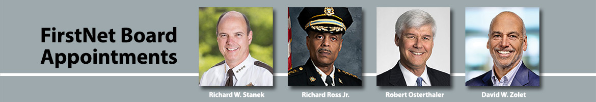 """Four headshots of FirstNet's new board members and the words """"Board Member Appointments"""""""