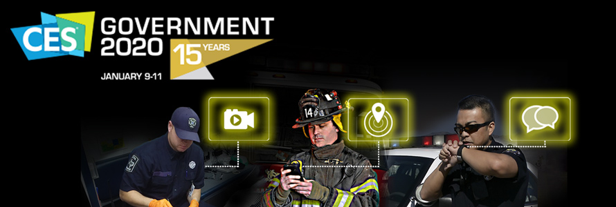 Graphic art of three first responder using Internet of Things and connected wearable devices with the CES Government conference 2020 logo