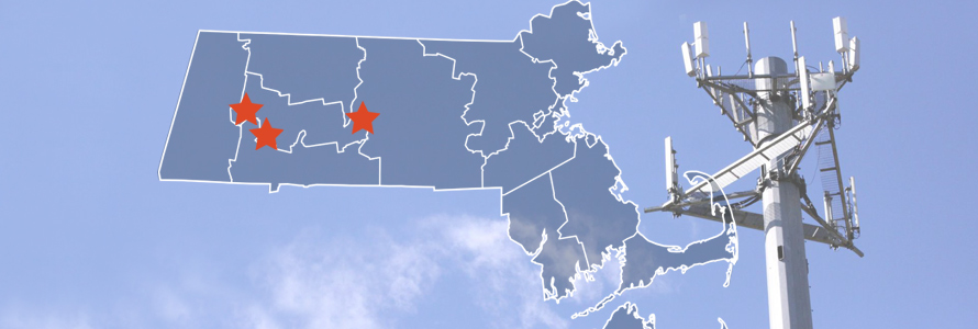 The State of Massachusetts, with outlined county boarders; a cell tower.