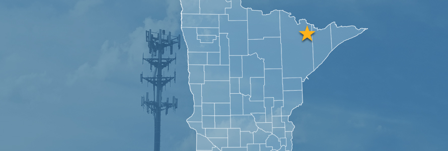 The state of Minnesota, with outlined county borders and a star locating Echo Trail, Minnesota; a cell tower.
