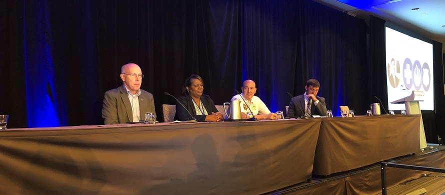 A panel of public safety experts presents to an audience at PSCR's 2019 Public Safety Broadband Stakeholders meeting in Chicago, Illinois.