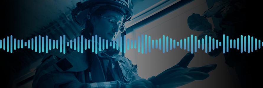 Sound wave; An app developer tries on firefighting gear, pulls on a glove