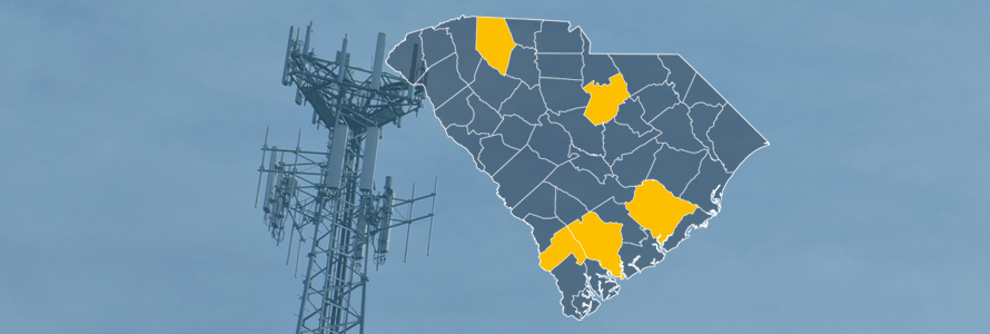 The state of South Carolina, with outlined county boarders; a cell tower