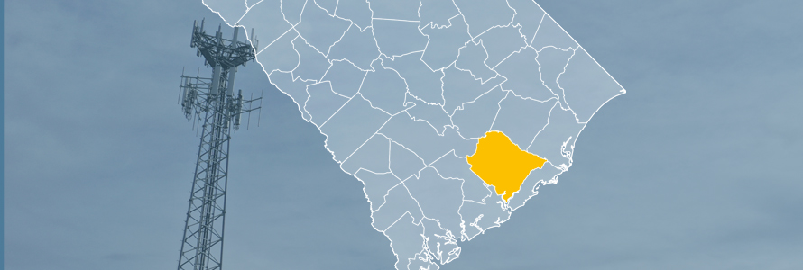 The state of South Carolina, with outlined county borders; a cell tower.