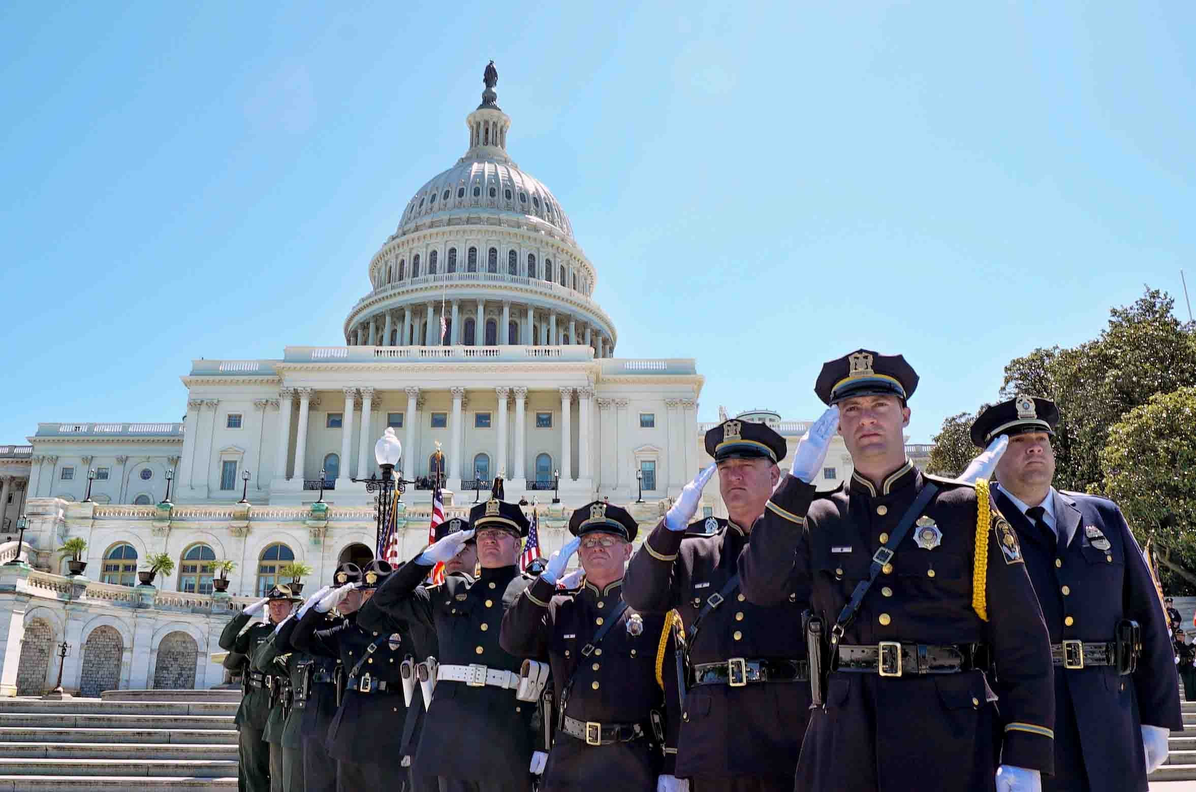 Nine police officers salute with the capitol building behind them during National Police Week 2017 in Washington DC.