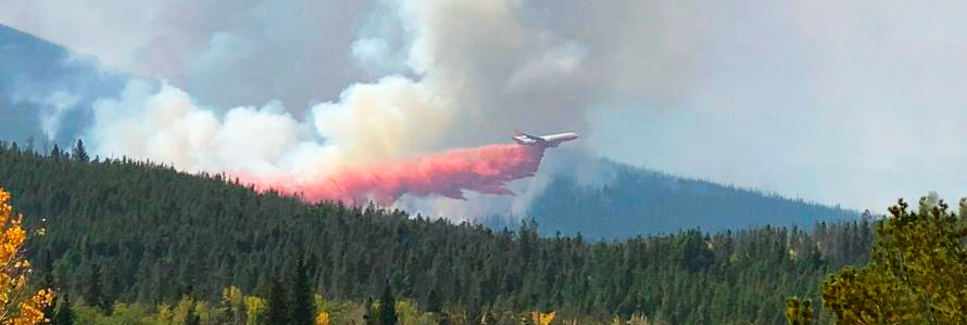 """FirstNet Authority logo; """"Best Practices: FirstNet use in wildland fire incidents;"""" plane releasing flame retardant over a forest"""