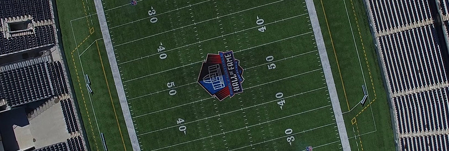Overhead view of the Pro Football Hall of Fame stadium in Canton , Ohio.