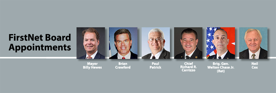 "Headshots of six new FirstNet Board Members and the words ""FirstNet Board Appointments"""