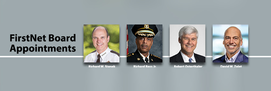 "Four headshots of FirstNet's new board members and the words ""Board Member Appointments"""