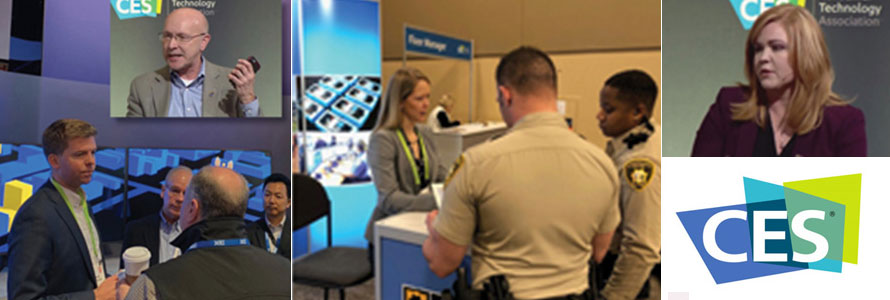 Four images with the CES logo: Ed Parkinson speaks to attendees, Bill Schrier gives a presentation, Chrissie Coon gives a presentation, two police offers visit the FirstNet exhibit booth