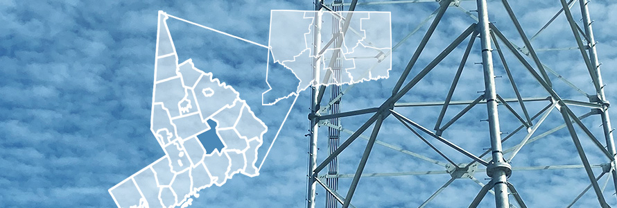 County map of Connecticut, city outlines of Fairfield County, cell tower against clouds