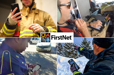 Four images: A firefighter in safety gear looks down at a smartphone, a firefighter riding in a helicopter speaks into a headset and looks at a tablet displaying information, a police officer looks down at a smart phone, an officer in the snow points with his right hand while holding a smart phone in his left