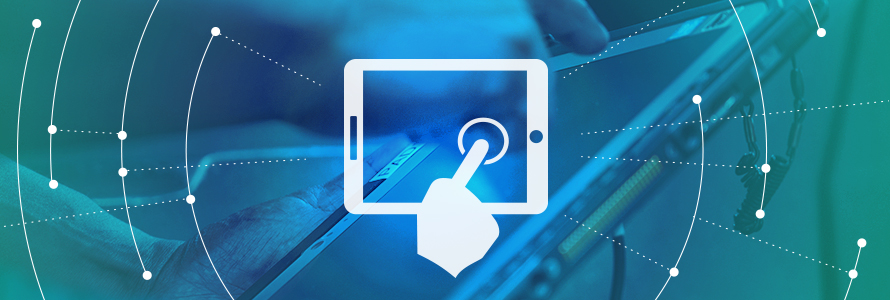 User Experience Roadmap domain icon, responder uses a tablet