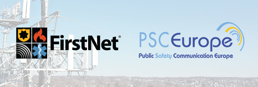 The FirstNet and Public Safety Communications Europe logos over a broadband tower with a city in the background