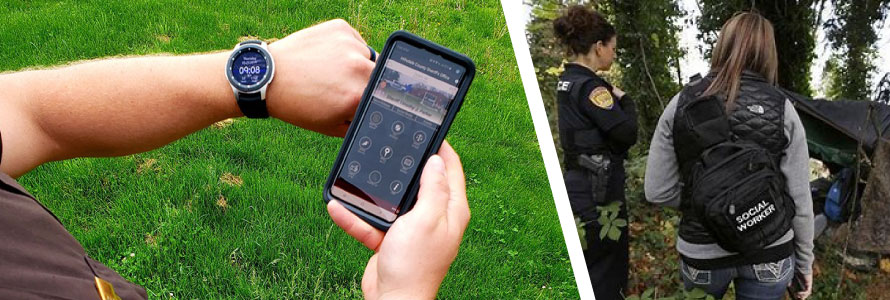 An officer shows a smartwatch and an app on his cell phone; a police officer and social work speak with an individual