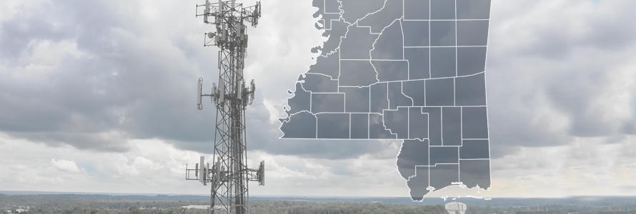 The State of Mississippi, with outlined county boarders; a cell tower.