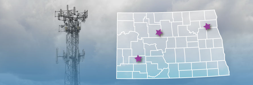 The state of North Dakota, with outlined county boarders; a cell tower
