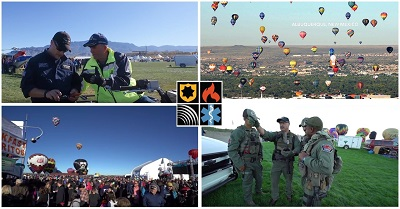 Four images from the International Balloon Fiesta in Albuquerque, NM: Two officers consult each other looking at their devices, hot air balloons rise over the city, a large crowd moves through the balloon fiesta fields, four police officers talk as one points with hot air balloons filling with air on the ground behind them