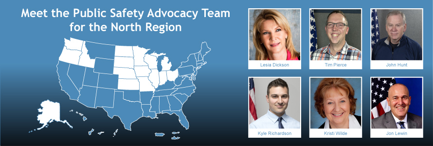 A map of the U.S. in blue with 16 states in the North region in white next to headshots of the six public safety advisors who represent those states.