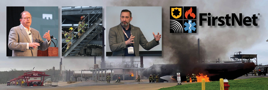 Image combines four images, featuring people giving presentations and participating in disaster drills