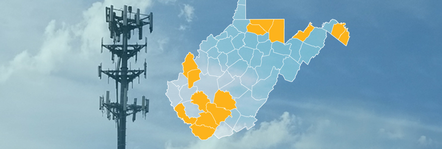 The state of West Virginia, with outlined county borders; a cell tower.