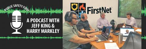 Dave Buchanan chats with First Responder Network Authority's Harry Markley, Senior Law Enforcement Official, and Jeff King, Senior Director of Field Operations