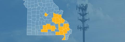 County map of Missouri with counties with new FirstNet site builds highlighted, a cell tower