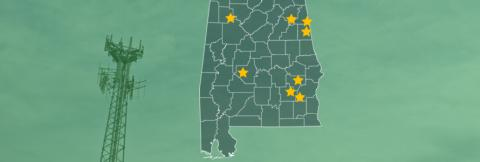 The State of Alabama, with outlined county boarders; a cell tower.