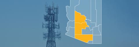 The state of Arizona, with outlined county borders; a cell tower.