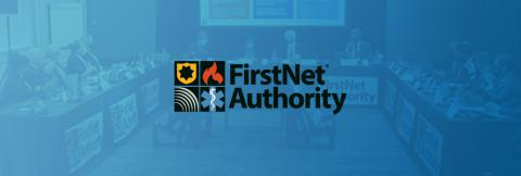 First Responder Network Authority logo with Board meeting photo on blue gradient background