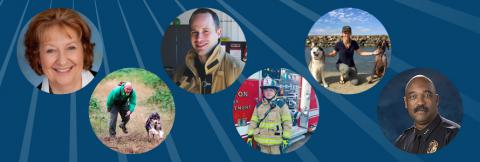 Six photos of first responders: a headshot of a woman, a man running with a dog, a firefighter inside a firehouse, a firefighter in front of a fire truck, a woman kneeling with two dogs, and a man in a police uniform.