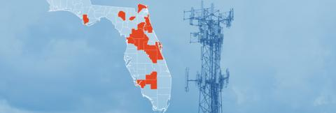 The State of Florida, with outlined county boarders; a cell tower.