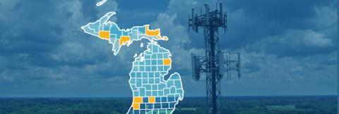 The state of Michigan, with outlined county borders; a cell tower