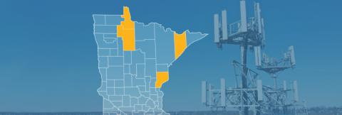 The state of Minnesota, with outlined county borders; a cell tower.