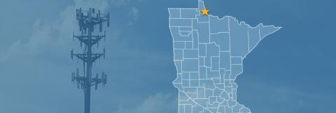 Map of Minnesota with a star over the town of Baudette; a cell tower