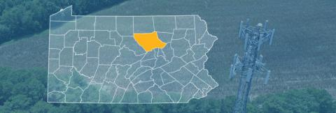 The state of Pennsylvania, with outlined county borders; a cell tower