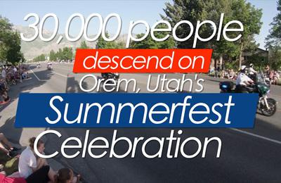 """The words """"30,000 people descended on Orem, Utah's Summerfest Celebratin"""" over an image of motocyclists in the parade watched by onlookers on the side of the road"""