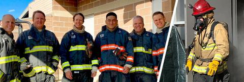 Judges for the Haptic Interfaces for Public Safety Challenge wearing firefighter personal protective equipment pose together; judge wearing firefighter gear tests haptic prototype