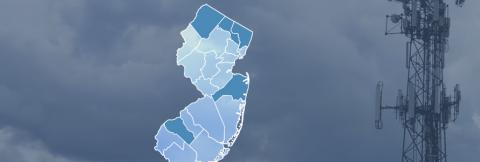 State of New Jersey with five counties highlighted