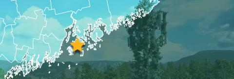 County map of Maine, star over Stonington, cell tower against mountains