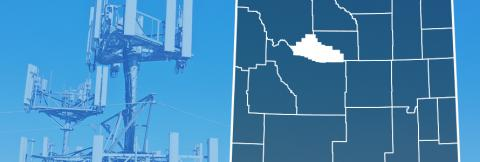 Map of Wyoming showing county lines with Hot Springs County highlighted, FirstNet enabled purpose-built FirstNet cell site.
