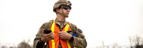TN National Guard soldier with smart device